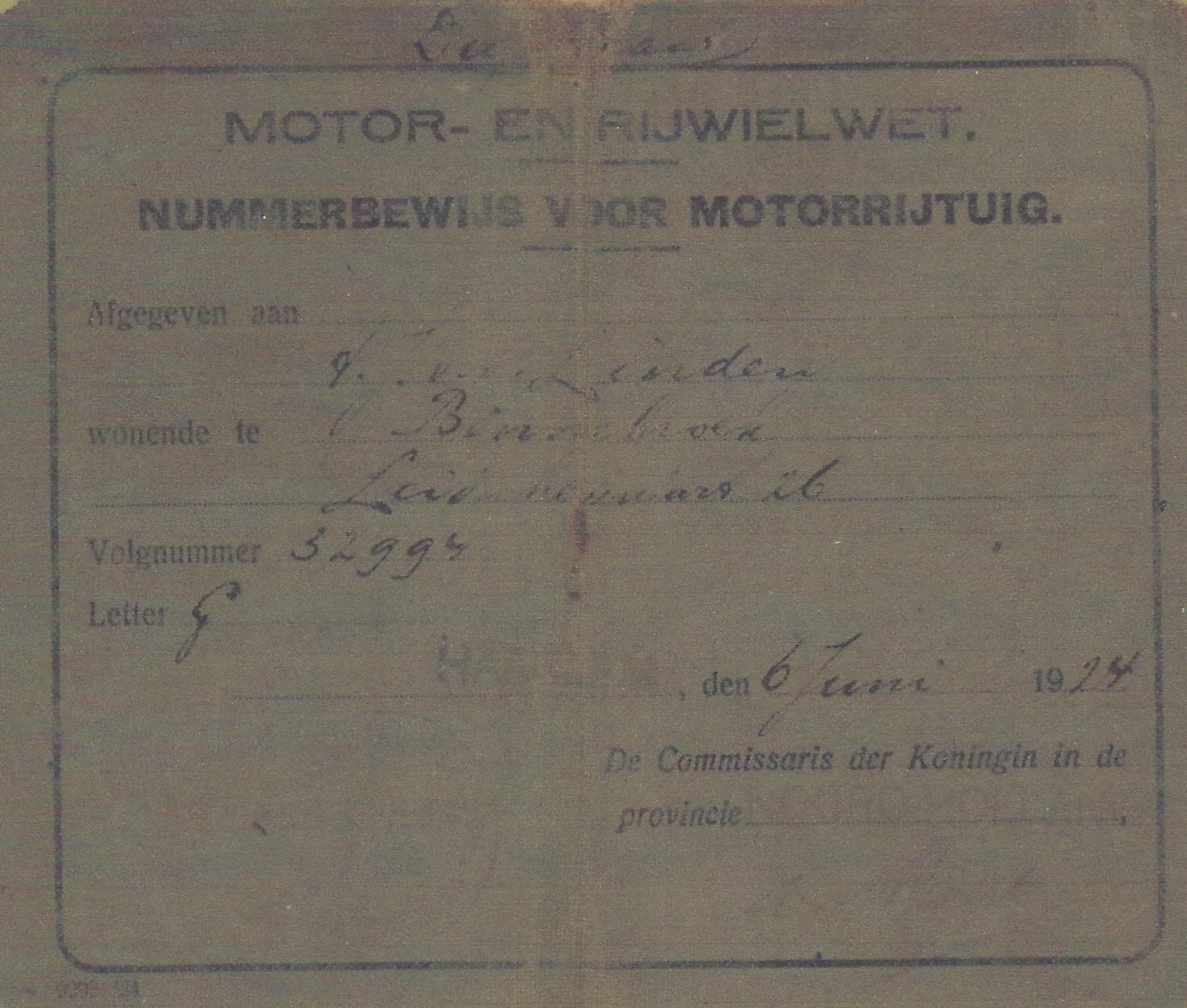 Het eerste kentekenbewijs